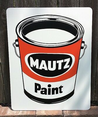 Mautz Paint A Sherwin Williams Co Vintage Can Metal Sign NEW NOS Store Display