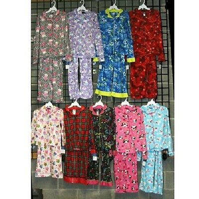 Girls 4-16 coat style flannel pajamas 24pcs. [G416CSFPJ]