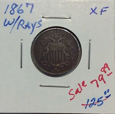 1867 Shield Nickel With Rays in XF Condition