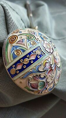 Antique Russian silver 84 shaded cloisonne enamel spoon 6th artel Moscow