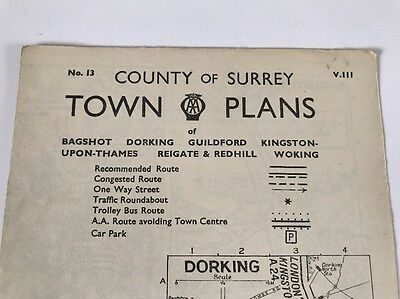 Vintage AA Town Plan County Of Surrey