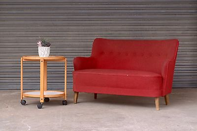 Vintage Danish two seater 2 person sofa red 1950s 50s mid century modern