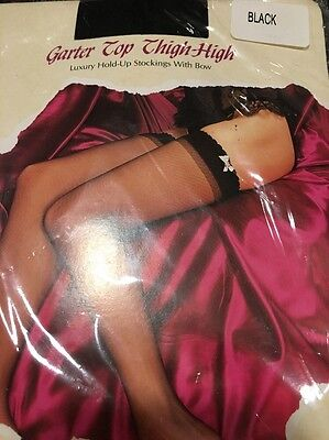 AIRE Garter Top Thigh High With White Bow Sheer Black One Size 90-160 pounds
