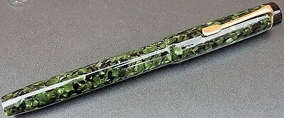 Large Vintage French Fountain Pen. Deep green and black cellulose acetate.