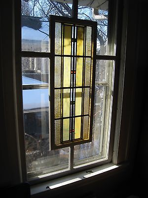 Pair (2) Matching Custom-Made Windows W/ Vintage Stained Art Glass Insets