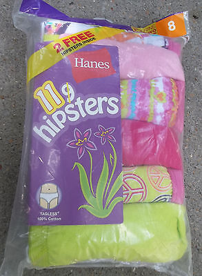 New Girls Hanes 8 Hipsters Briefs 11 Pack Cotton Label Free