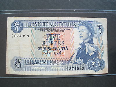 MAURITIUS 5 RUPEES 1967 P30c #M SHARP BRITISH QEII WORLD BANKNOTE PAPER MONEY
