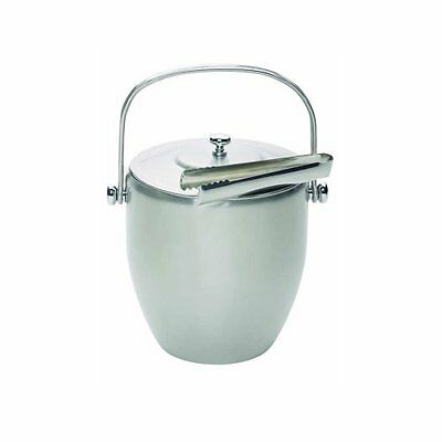 Barcraft Stainless Steel Ice Bucket with Lid   Tongs- gift boxed