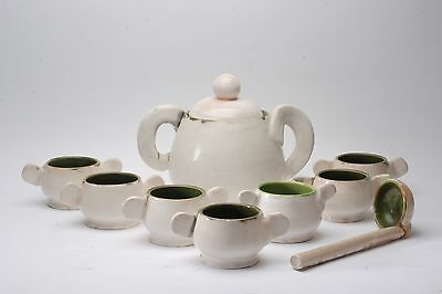 Unusual Soup tureen and Seven bowls, Matching Ladle...Mid Century?