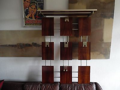 Danish Mid - Century Wall Mounted Coat And Top Shelf Aluminium And Rosewood