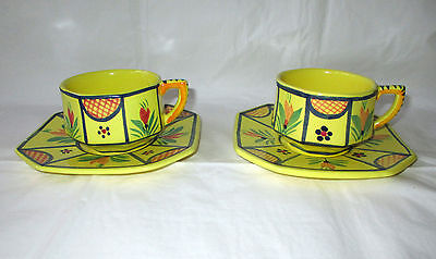 2 HB Quimper Faience Yellow 8-sided Cups & Saucers BRETON Man & Woman (1970s)