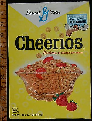 [ 1960s General Mills CHEERIOS Vintage Cereal Box - Rocky and BULLWINKLE ]