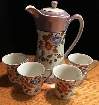 1920s Japanese Luster Chocolate Pot And Cups. (XX)