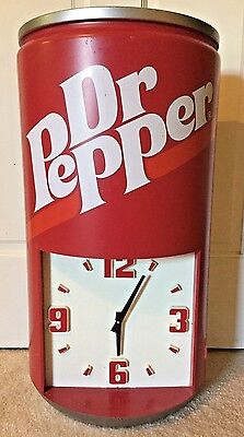 """Dr Pepper Clock Rare! Can Shape 23.5"""" tall 13"""" wide Battery Operated"""