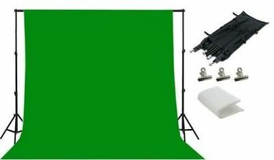 Bright Green Photo Studio Back Drop Background Photography Stand Set Kit
