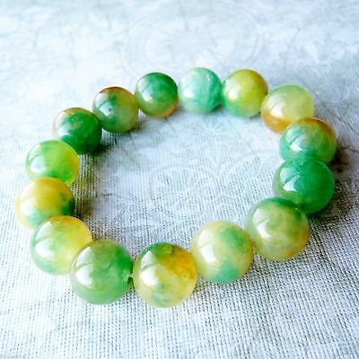 19 mm/7.5 in-Certified Natural Emerald Jade Beads Stretchy Bracelet
