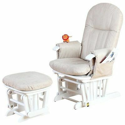 Tutti Bambini Gliding Nursery Chair & Stool GC35 -White-With New Spare Cushions