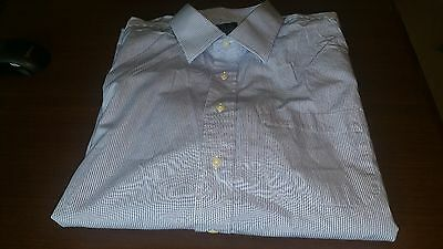 Men's Jos. A. Bank Dress Shirt Size 17.5 100% Cotton Blue & White