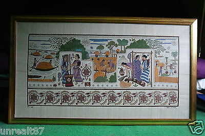 Large Beautiful Framed Tapestry Woven Indian Rural Working Field Scene Unique