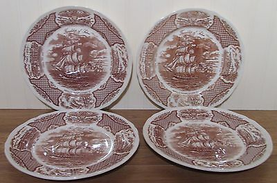 Alfred Meakin FAIR WINDS Brown Dinner Plates    Set of 4