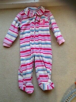 Baby Girls 6-12 Months Sleepsuit Pink Fleece All In One