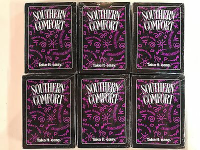 """6 Decks Vintage Southern Comfort """"Take It Easy"""" Playing Cards SEALED"""