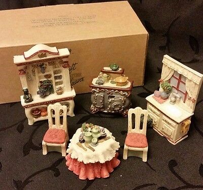 Avon Victorian Kitchen Miniature Dollhouse Table Stove Sink Hutch Chair  Vtg