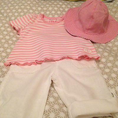 Baby Girl Set Of 3 Trousers,top & Sun Hay Size 0-3 Months