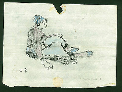 Drawing signed CAMILLE PISSARRO - on original paper of the 19th century