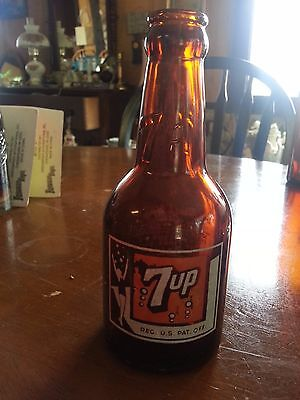 Rare AMBER BROWN 7UP BOTTLE, 7 OZ., HOUSTON, TX