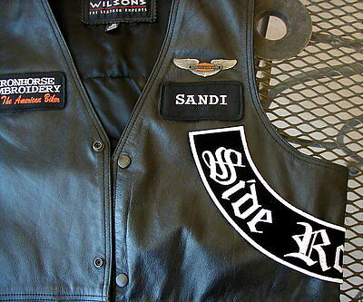"Custom 13"" Side Rocker On Black  - Motorcycle  Biker Patch By Dixiefarmer"
