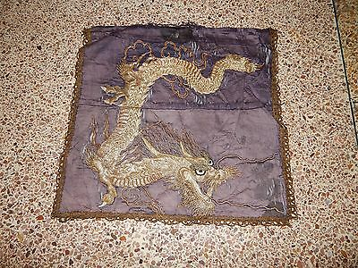 Antique Chinese 19thC Hand Embroidery Dragon Wall Hanging Panel 53X50cm (X189)