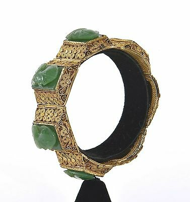 Chinese Gilt Silver Spinach Jade Carved Carving Roman Soldier Bangle Bracelet