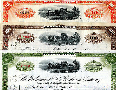 3 Different Baltimore and Ohio Railroad Certificates from the 1940s