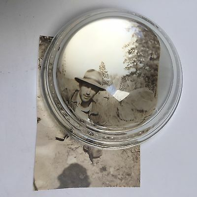 Vintage Glass Bubble Dome Desk Paper Weight Magnifier Loupe Stamp Coin Photo