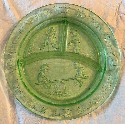 "Childs Green Glass Divided Plate Nursery Rhyme See Saw Margery Daw 8.5"" Vintage"