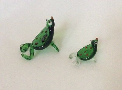 Two Vintage Glass Frogs
