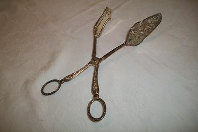 Vintage Ornate Silver Plate Scissor Pastry Serving Tongs