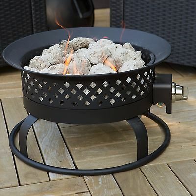 Bronze Portable Propane Campfire Fire Pit Deck Patio Yard Adjustable Cover BBQ