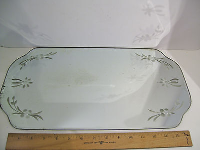 "Vintage Art Deco Vanity Dresser Beveled Glass Etched Mirror Tray 17 7/8"" x 10"""