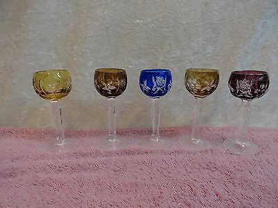 5 Crystal Colored Cordials  Cut To Clear Czech Bohemian Stemware Vintage