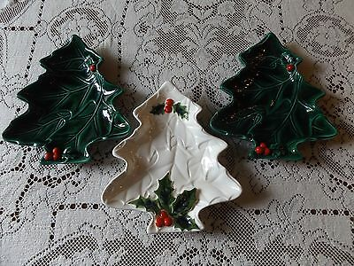 LEFTON JAPAN GREEN WHITE HOLLY PLATES CHRISTMAS TREE  Lot 3