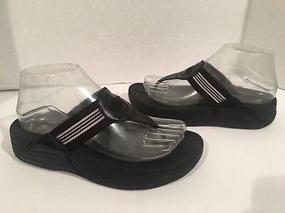 FitFlop Walkstar Striped Black and White Wedge Walking Sandals Women's Sz 6 US
