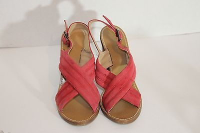 J.Crew Red Strappy Suede Leather Women's Sandal Heels Sz 7