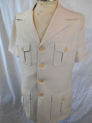 Vintage 70s Sandy Brown Riverside Polyester Short Sleeve Safari Style Jacket 40