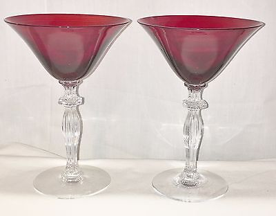 "2 Morgantown MONROE #7690 SPANISH RED *6 1/4"" CHAMPAGNE GOBLETS*"