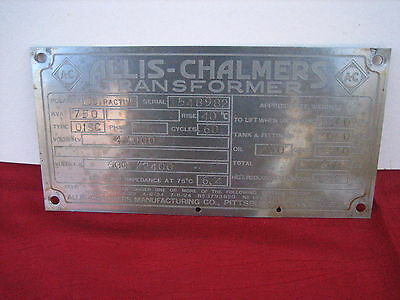 Vintage 9'' by 4.5''  Allis-Chalmers Stainless Sign Metal AC Tractor? 1921-1924