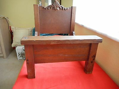 Antique Victorian High back Shell design Oak Salesman Sample/dolls Bed