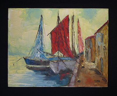 Vintage Oil Painting on Canvas Moored Sailing Ships artist signed Betts