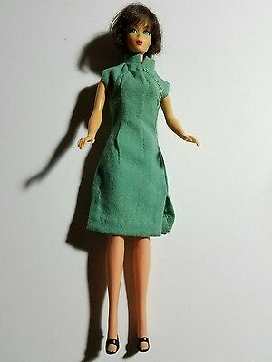 Barbie Doll Handmade Green Asian Style High Neck Sleeveless  Dress + Shoes